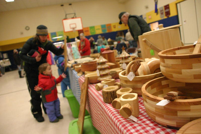 The craft fair included locally made items including wood bowls.