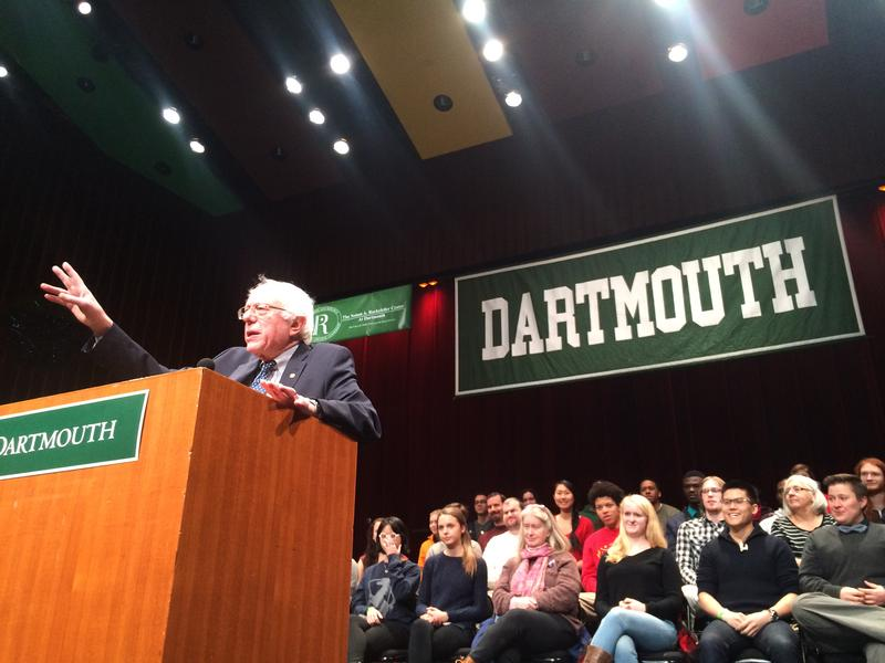 Sanders delivers his stumps speech at Dartmouth Thursdsay.