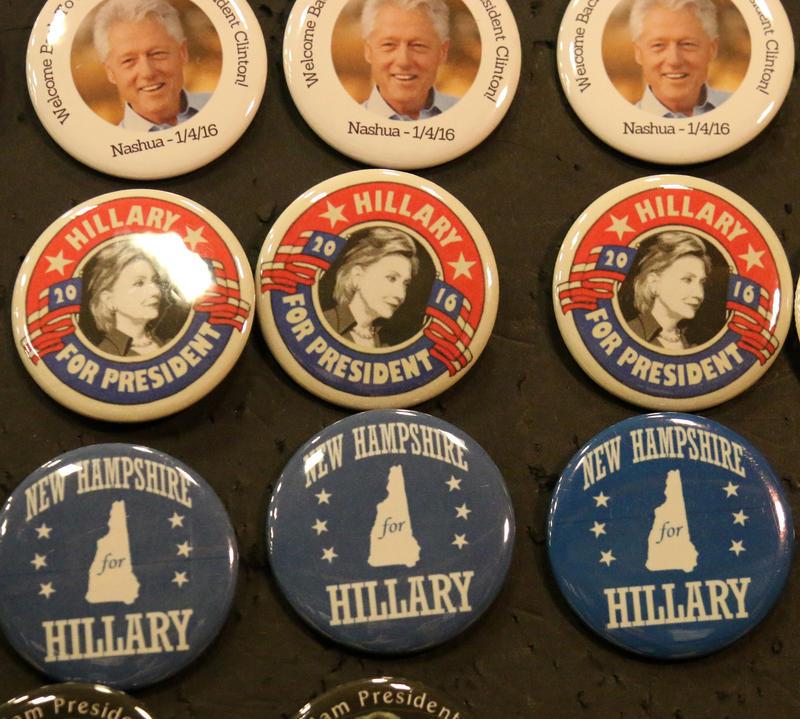 Campaign buttons for both Hillary and Bill were on display at the Nashua event.
