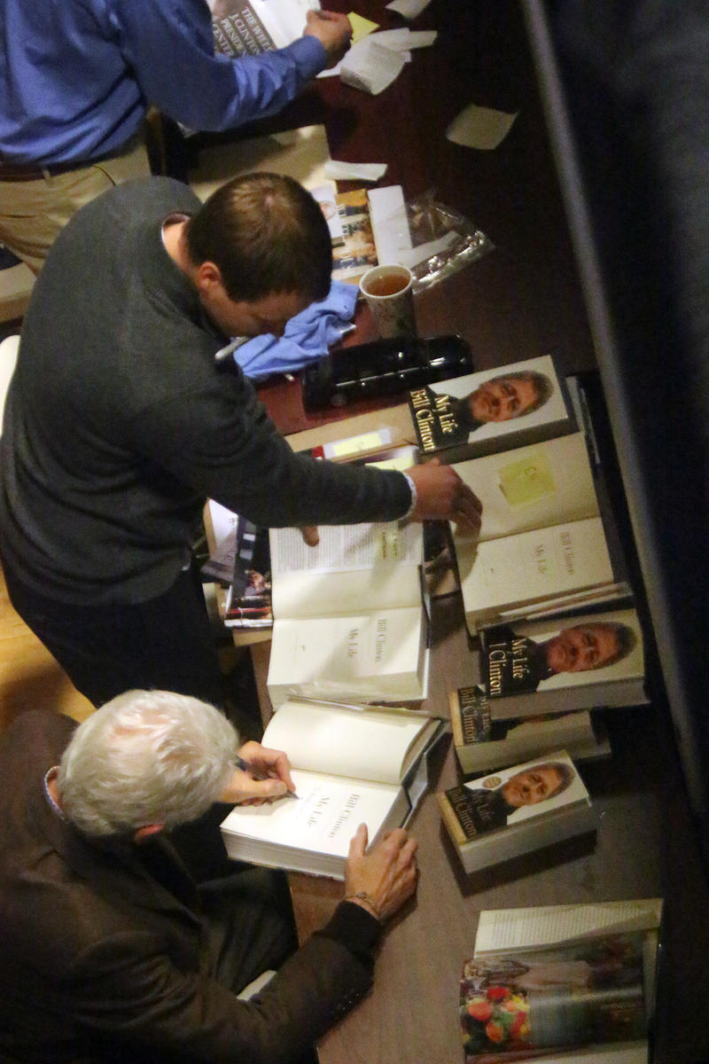 Former Pres. Bill Clinton signed copies of his autobiography after the Nashua event on Monday.