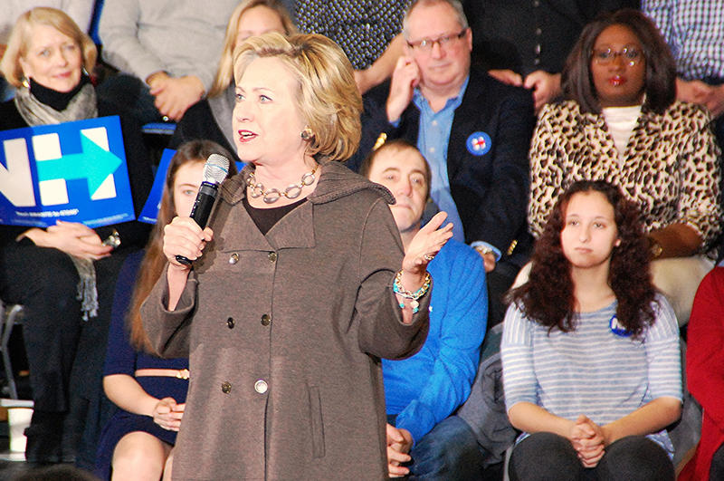 Democratic presidential candidate Hillary Clinton speaks at an event in Derry, January 3, 2016.