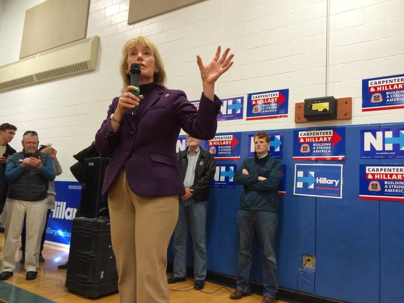 Gov. Maggie Hassan works to fire up a crowd of Hilary Clinton supporters in Nashua.