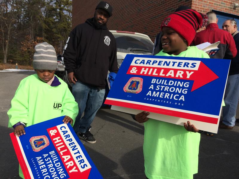 About 500 volunteers, mostly from the Carpenters Union, canvassed in Nashua on Saturday.