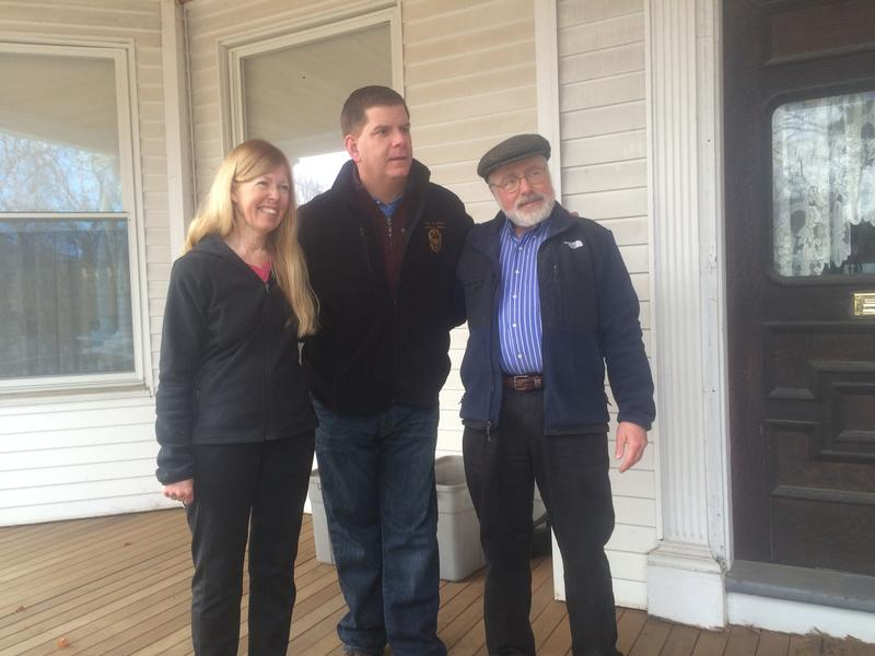 Marty Walsh poses for a photo with Mary Ellen and Mark Biletch of Manchester.