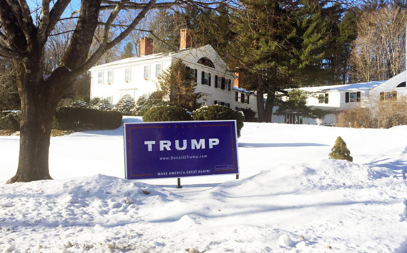 A lawn sign for Trump in Hopkinton