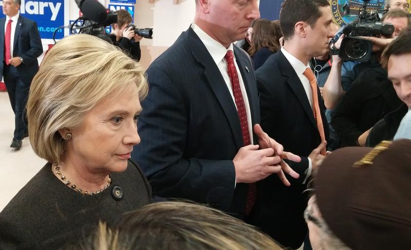 Clinton speaks to supporters after her event in Derry.