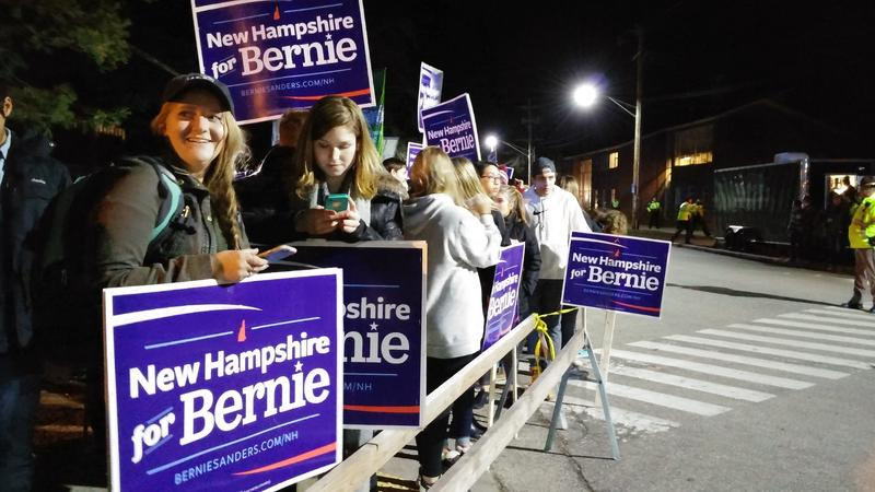 UNH students show their support for Bernie Sanders during last week's Democratic Presidential debate