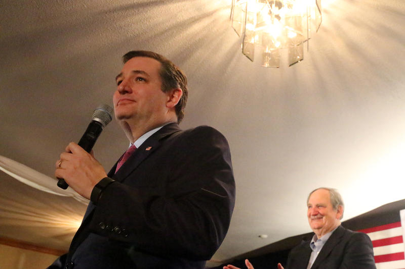 Ted Cruz speaks to supporters at his primary night camp in Hollis