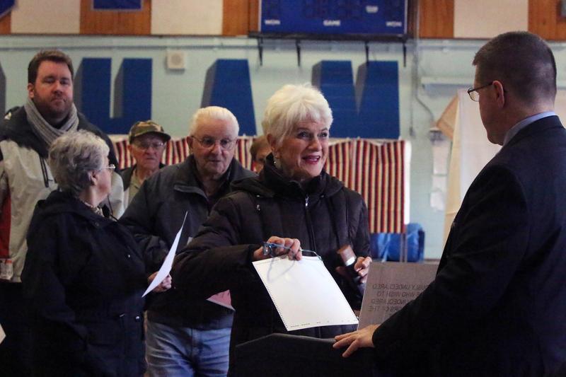 A voter casts a ballot in Pelham