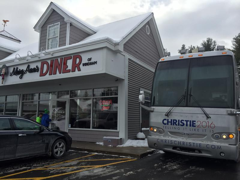 New Jersey Governor Chris Christie's campaign bus in front of Mary Ann's Diner in Windham