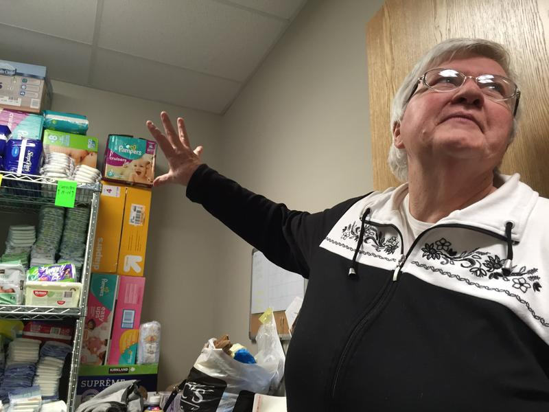 Social worker Eileen Brady gives a tour of the Nashua Soup Kitchen and Shelter.