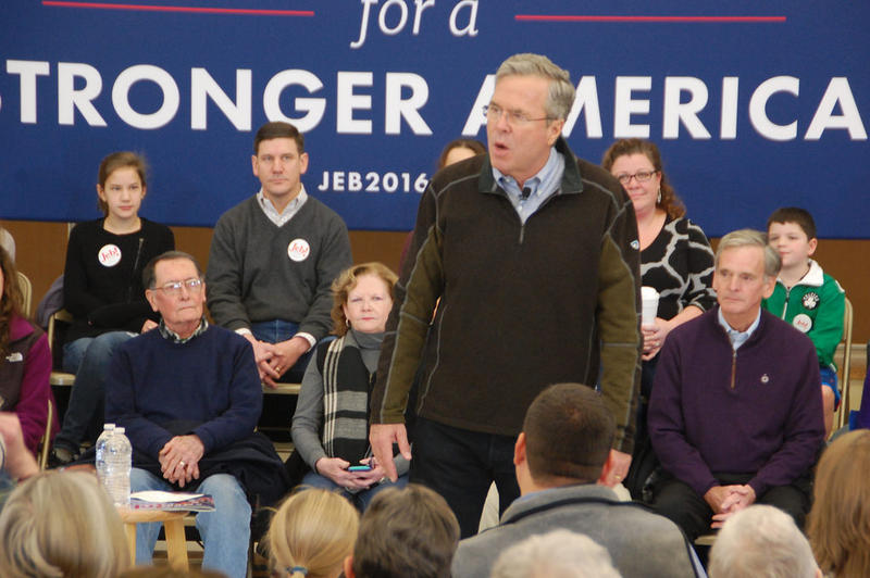 Jeb Bush speaks at a town hall event at Bow Elementary School, January 23, 2016.