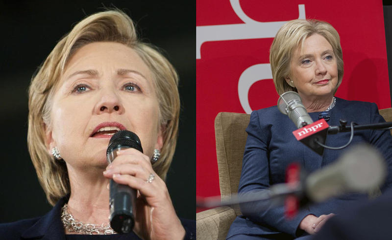 Clinton in New Hampshire in 2008 (left) and 2016