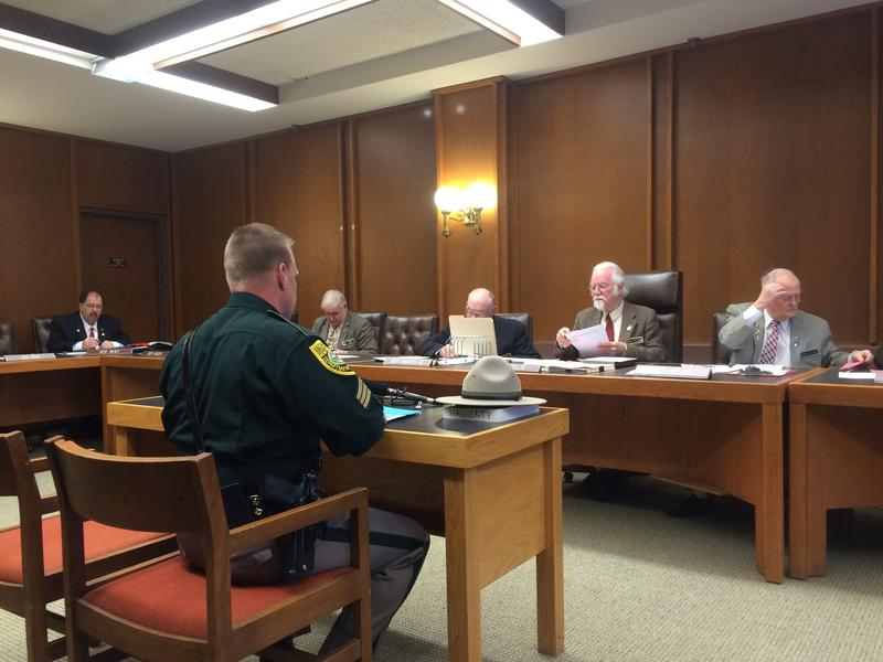 Sgt. Sean Haggerty of N.H. State Police testified at the State House Tuesday in support of a bill to up penalties for people who sold guns to those who shouldn't have them.