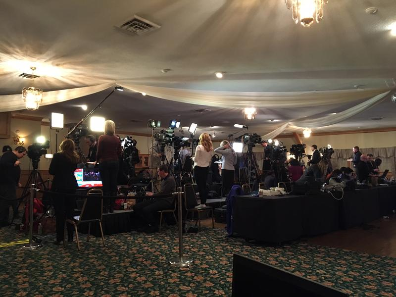 The media at Ted Cruz's primary night headquarters in Hollis