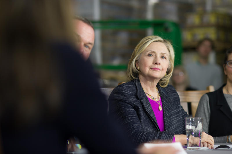 Clinton at a roundtable event at the Smuttynose Brewery in May. A poll released by WMUR days before this photo was taken had Clinton at 51%, and Sanders at 13% in New Hampshire