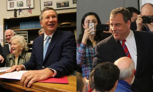 John Kasich (left) and Chris Christie (right) have spent more time in N.H. than any candidate this Primary.
