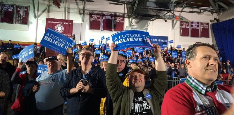 Bernie Sanders supporters celebrate early in the night as the race is called.