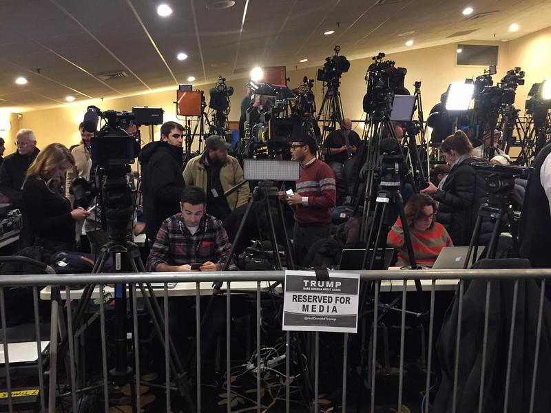 Just some of the media set up at Donald Trump's primary night campaign headquarters in Manchester
