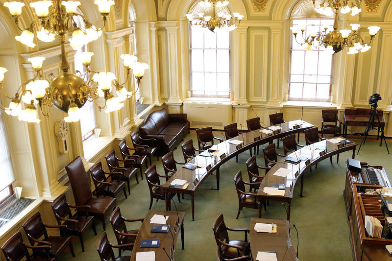 The view from the balcony of the New Hampshire Senate chamber. This is the preferred seating area for many State House lobbyists on busy legislative session days.