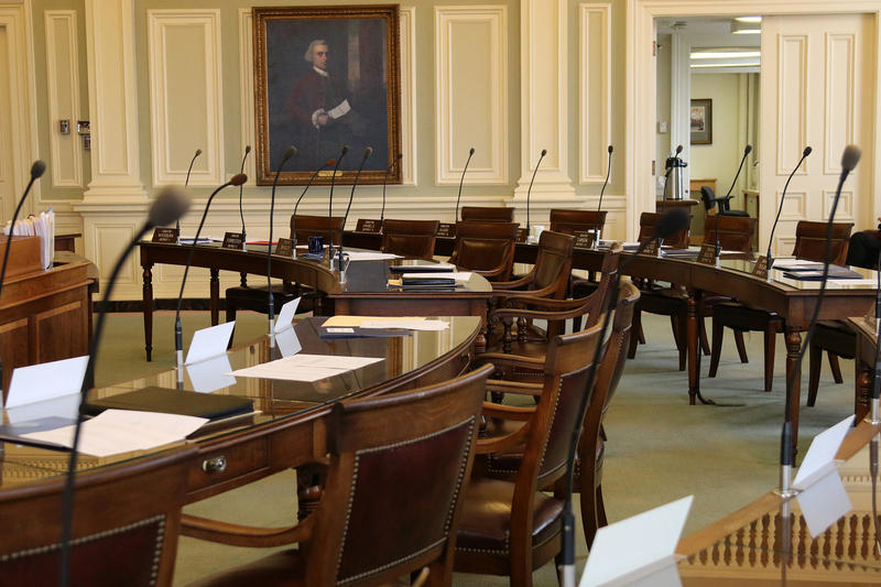 The senate chamber at the N.H. Statehouse