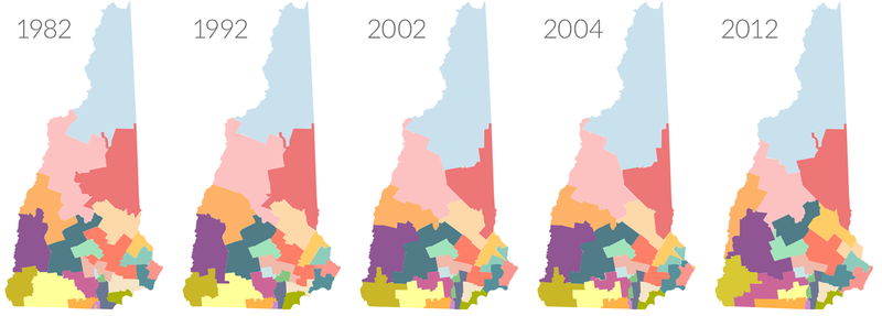 New Hampshire's state Senate districts have undergone considerable shifts over the past few decades. One constant: In the majority of elections, Republicans have enjoyed disproportionately favorable terrain and election outcomes.