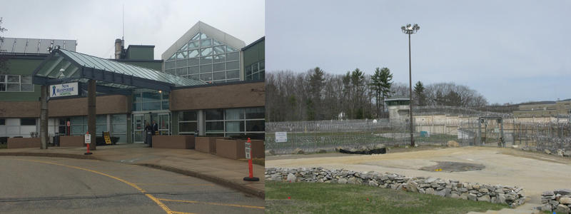 On the left is the entrance to the New Hampshire Hospital meanwhile on the right shows the entrance to the State Prison where SPU patients are escorted to the unit.