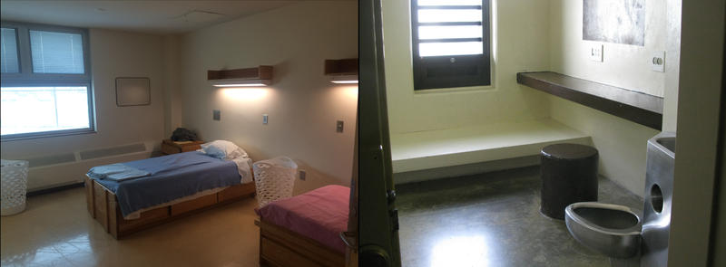 On the left shows the patients' rooms at the New Hampshire hospital, which have no locks on the doors, meanwhile on the right are the patients' rooms at the SPU, which are more or less jail cells.