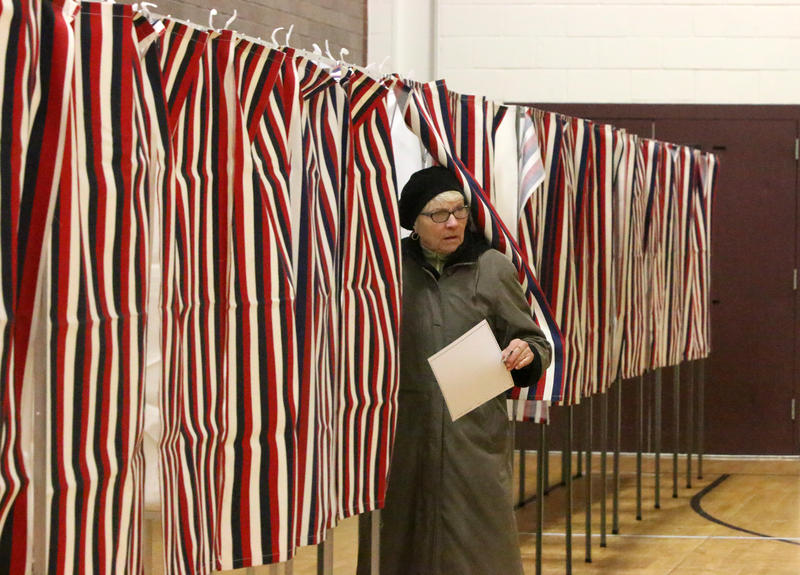 At the polls at Hollis-Brookline High School on Primary Day, Feb. 9, 2016.