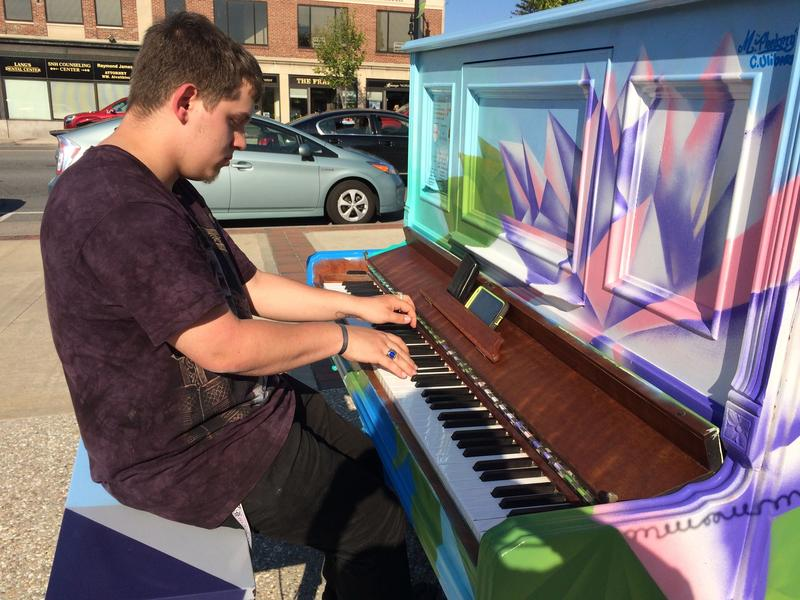 Alex Webster plays the piano