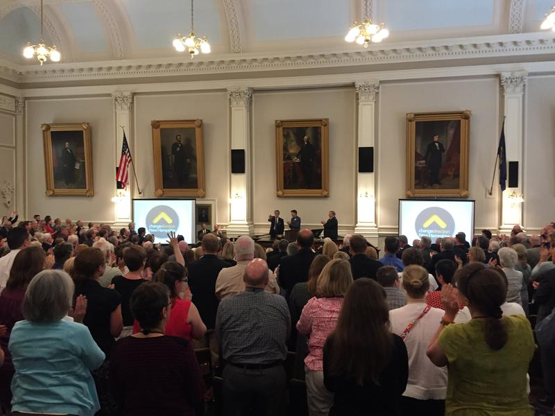 Former Chief Justice John Broderick received a standing ovation after speaking up about his family's experiences with mental illness at the campaign kickoff.