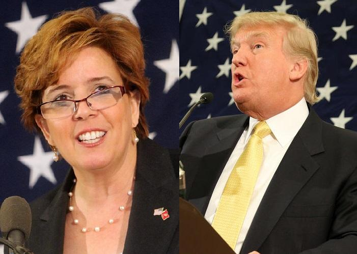 Republican state party chair Jennifer Horn and Donald Trump speak at a party gathering in 2015