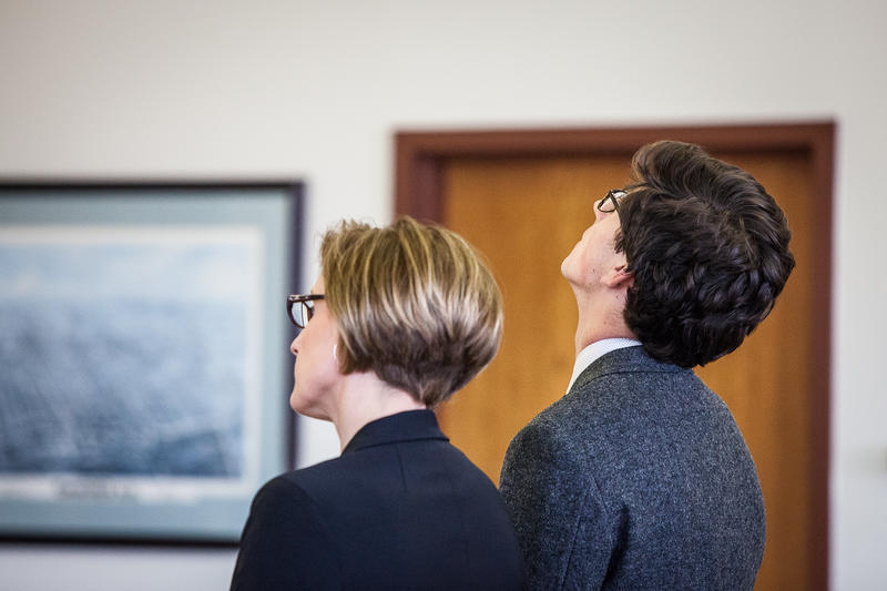 Owen Labrie, 20, stands next to his lawyer Jaye Rancourt as a Concord judge ordered him to immediately serve his one-year sentence for breaking curfew multiple times.