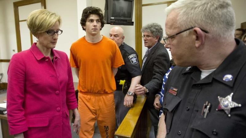 Owen Labrie, 21, was escorted out of the Merrimack County Superior Courtroom Monday after a Concord judge agreed to new bail conditions.