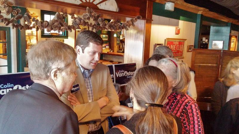 Gubernatorial candidate Colin Van Ostern meets with voters in Hanover last month