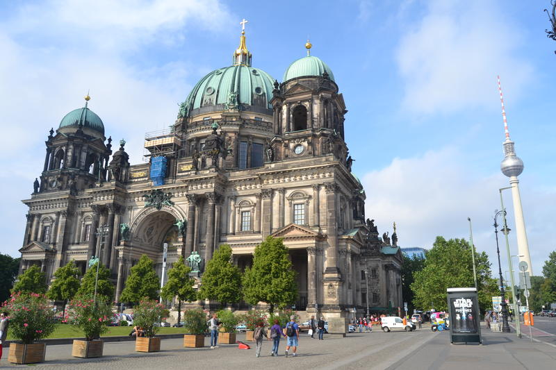 Two iconic landmarks in Berlin are the Berlin Dom, left, and Alex's Tower, right.