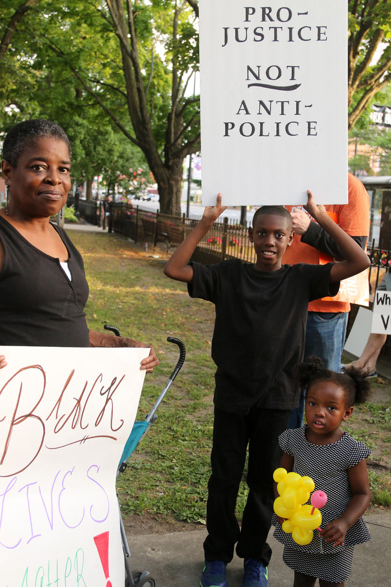 Tavon Whitted, 10, with his grandmother Karen Whitted and sister Amelia Payton, 2.