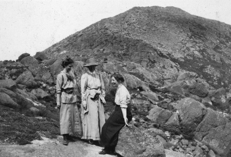 Three women at summit. From left: Hazel Peek, [unidentified], Theodora Beckwith. Courtesy of Ginny Folsom Umiker.