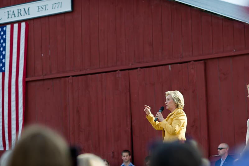 Hillary Clinton at primary campaign event at Beech Hill Farm in Hopkinton, NH