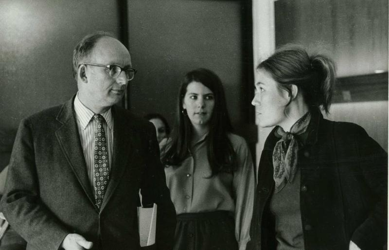 Robert Wood talks to students at the University of Massachusetts, where he served as president