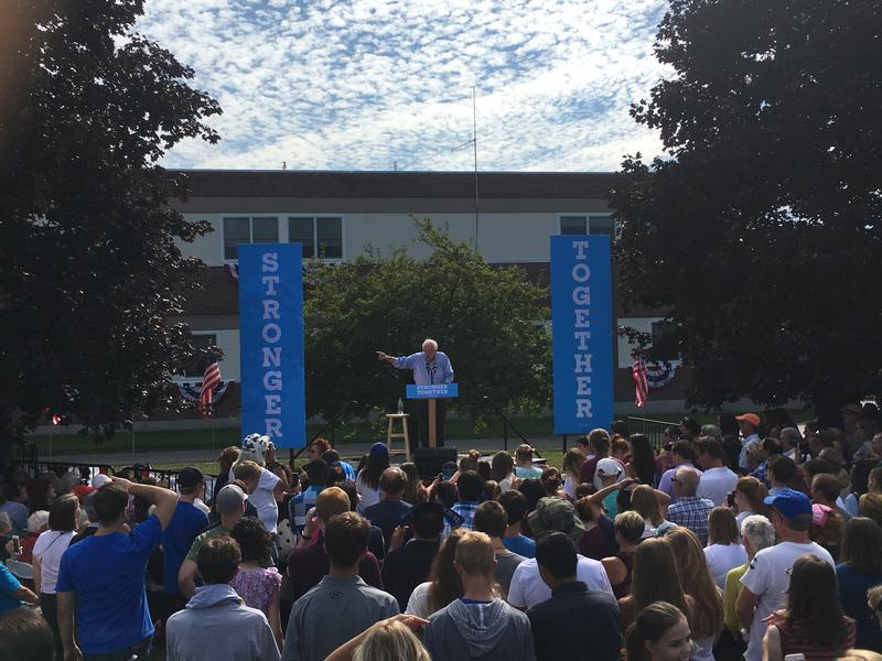 Bernie Sanders speaking at a Hillary Clinton event on Labor Day, 2016. Lebanon, N.H.