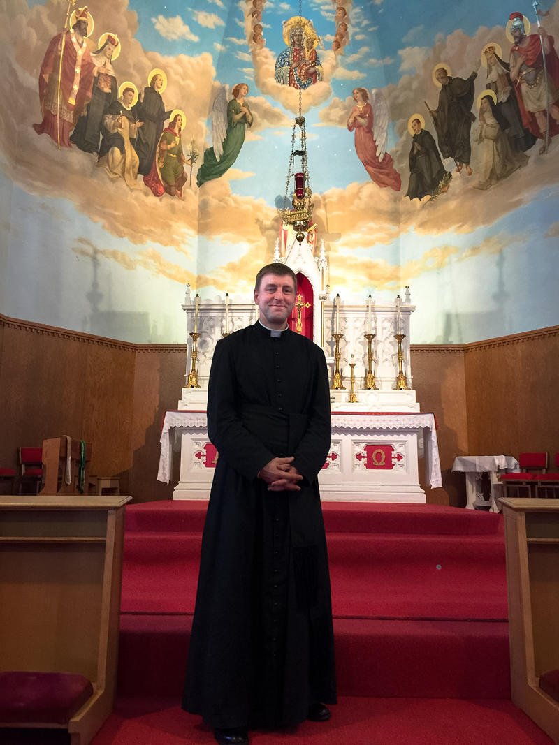 Father John Brancich in Nashua's St. Stanislaus - the only N.H. church dedicated to the Latin Mass.