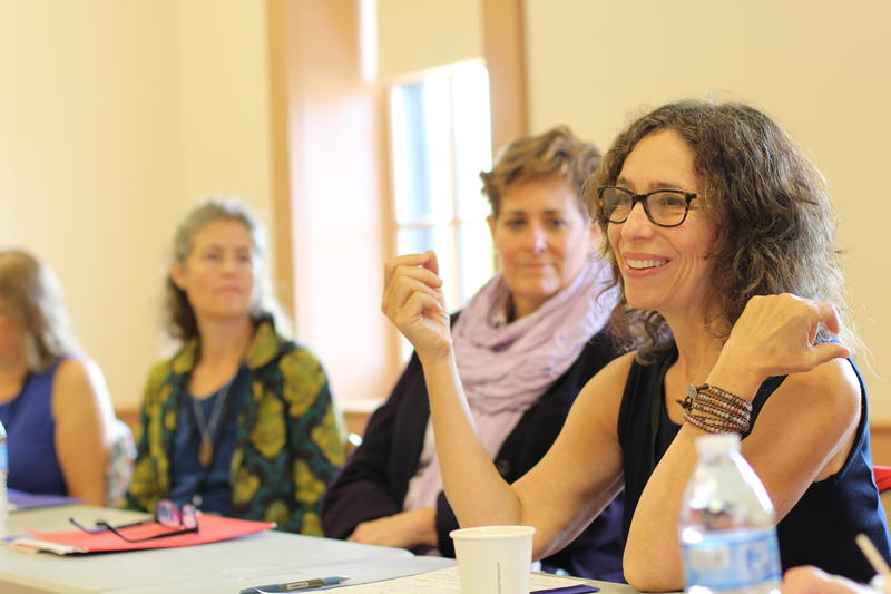 "Alice Fogel (right) participates in ""A Panel Discussion of Poetry and Community"" at the New Hampshire Poetry Festival on Saturday, Sept. 24, 2016."