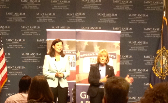 Sen. Kelly Ayotte and Gov. Maggie Hassan took the stage at St. Anselm College separately Monday to discuss how to fix Social Security and Medicare.