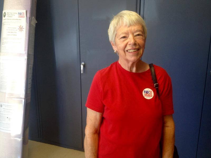 Cecile Juneau at Manch Ward 11. At age 76, she says she's a registered Democrat.
