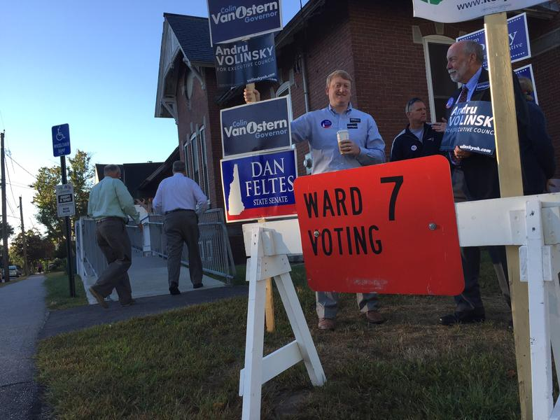 State Senate candidate Dan Feltes campaigns outside Ward 7 in Concord