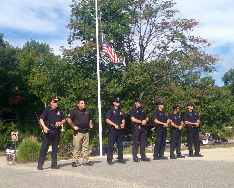 First responders gathered at the Symth Road Elementary School in Manchester to remember the victims of 9/11.