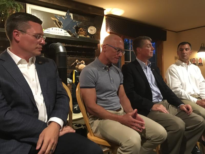 "Republican candidates for District 24 at a ""Meet the Candidates"" forum this August. From left, Ray Tweedie, Dan Innis, Steve Kenda and Jim Maggiore."