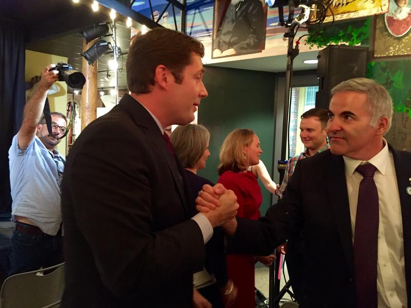 Colin Van Ostern celebrated his primary victory with a crowd of supporters at Manchester's Millyard Museum Tuesday night. Here, he's joined by SEA/SEIU Local 1984 President Rich Gulla.