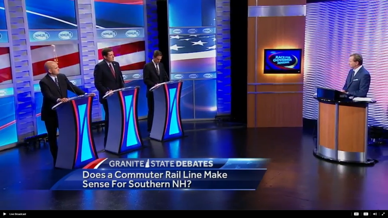 Steve Marchand (left), Colin Van Ostern (center) and Mark Connolly (right) debate at WMUR in Manchester Tuesday night.